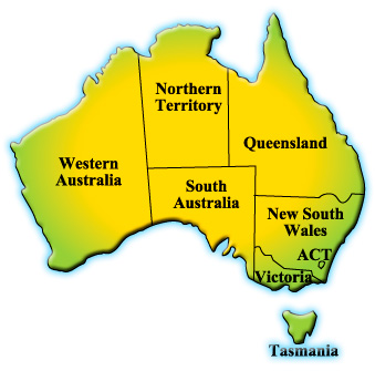 Map of Australia with hotspots