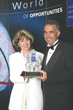 Pacific Coast Eco Bananas managing director, Frank Sciacca, topped the field at the 2003 Management Excellent Awards in Brisbane on Friday November 7th to bring home the accolade of Rural Manager of the Year.